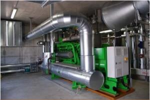 Schema dei flussi in un impianto di cogenerazione a biogas